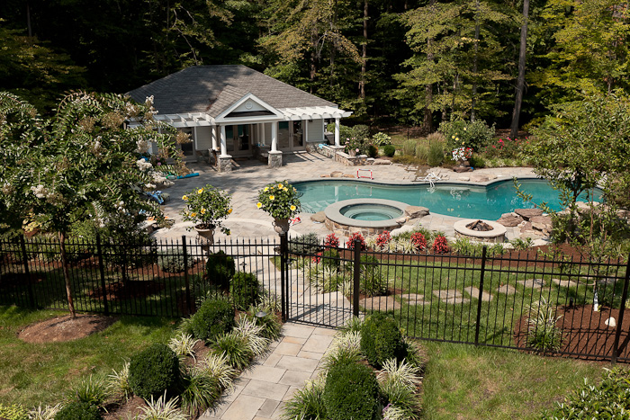 Clifton va free form swimming pool and poolhouse land for Pool design virginia