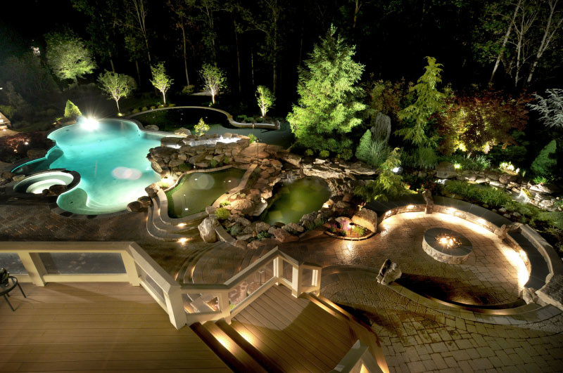 Ultimate Luxury Pool Backyard In Potomac MD Land Water Design Gorgeous Backyard Designs With Pool And Outdoor Kitchen