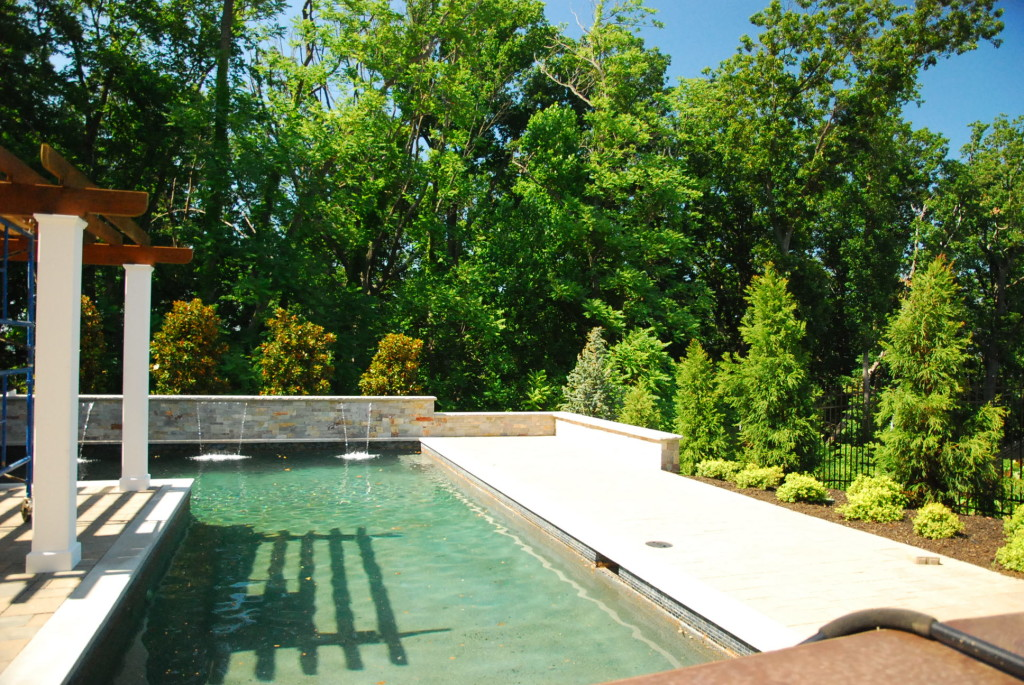 raised beam pool waterfall