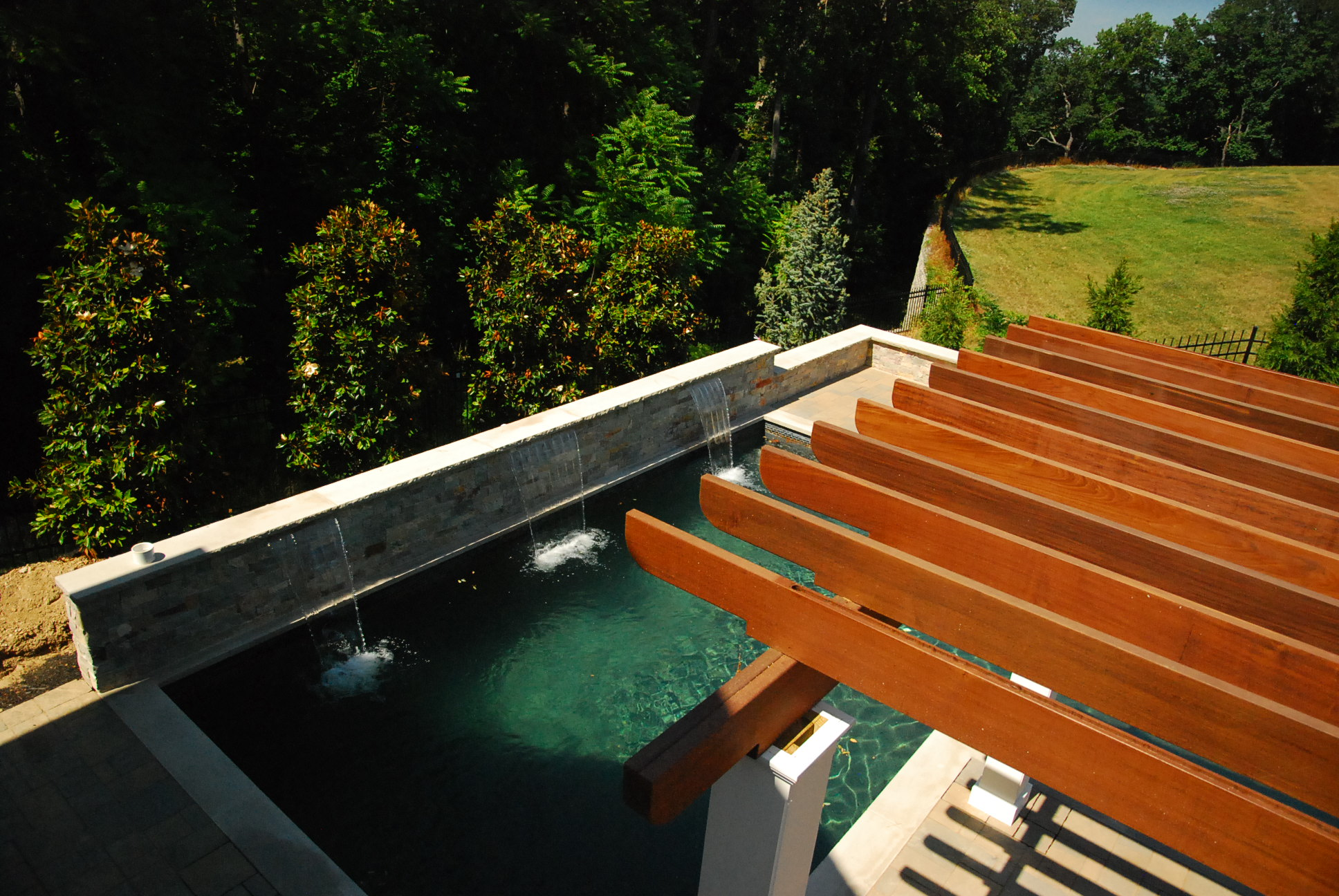 A Modern Towson Md Swimming Pool And Pergola Land Water Design Inc