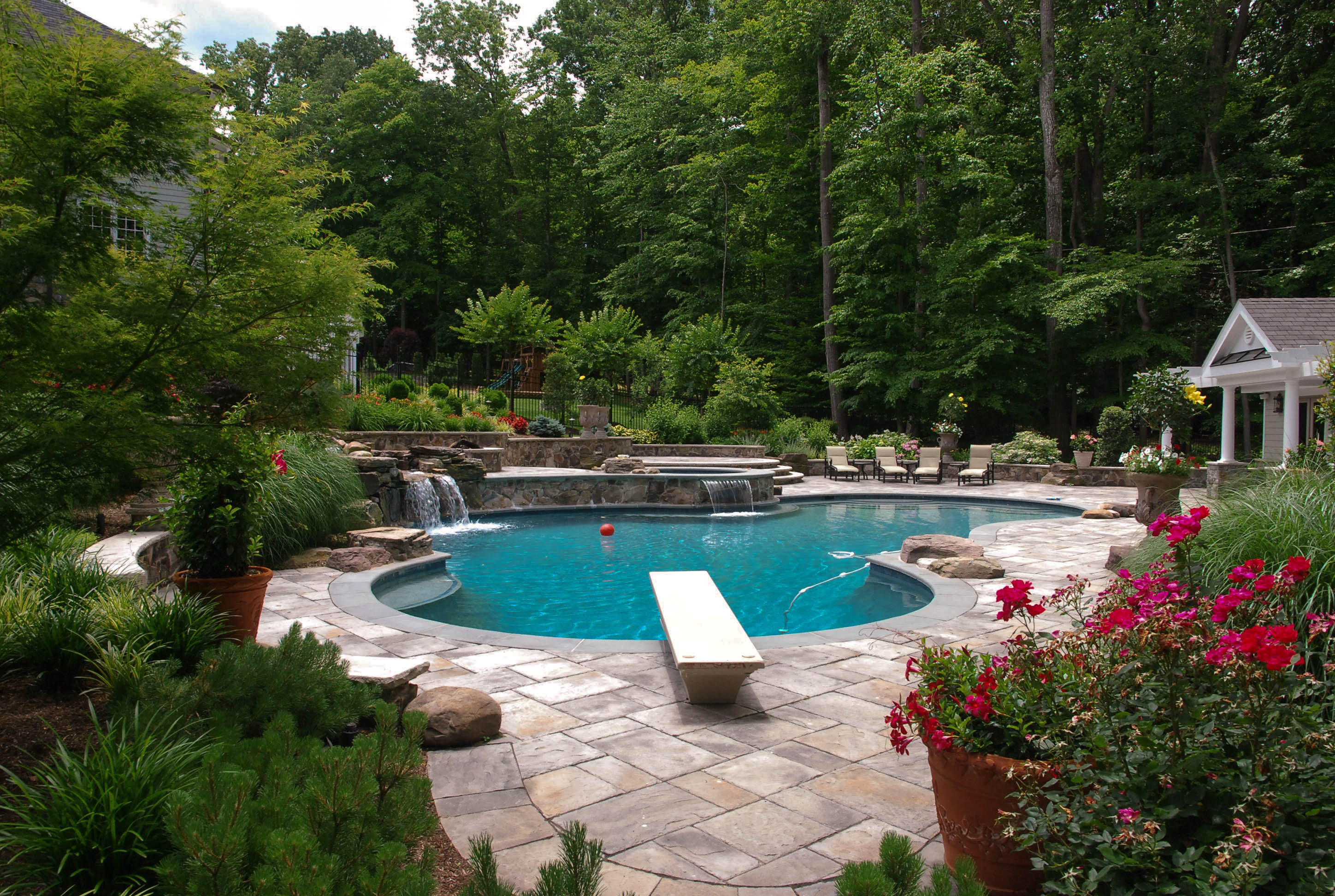 Clifton Va Free Form Swimming Pool And Poolhouse Land Water Design Inc