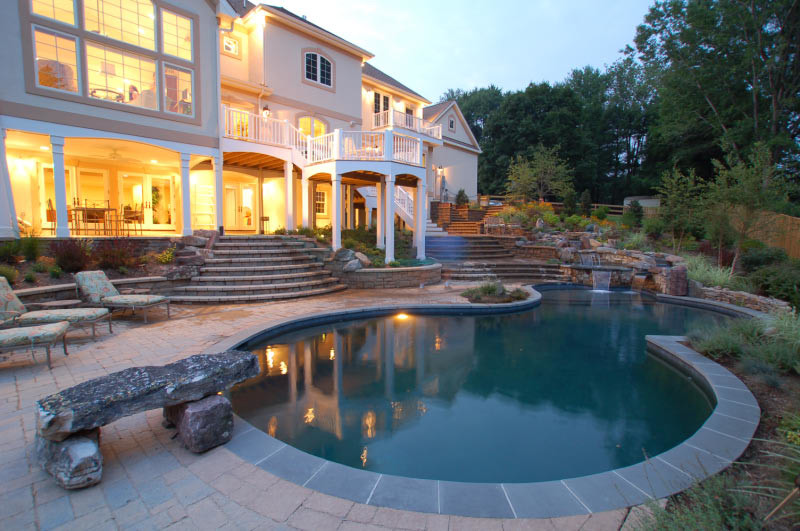 Pool deck with grand staircase vienna va land water for Pool design virginia