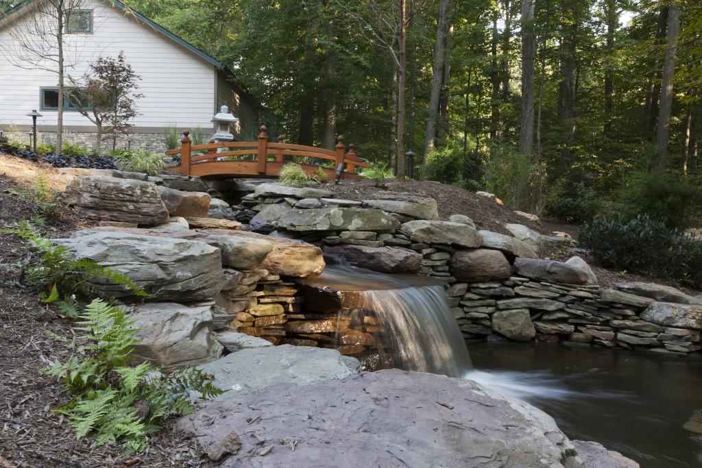 Clifton landscape pond bridge