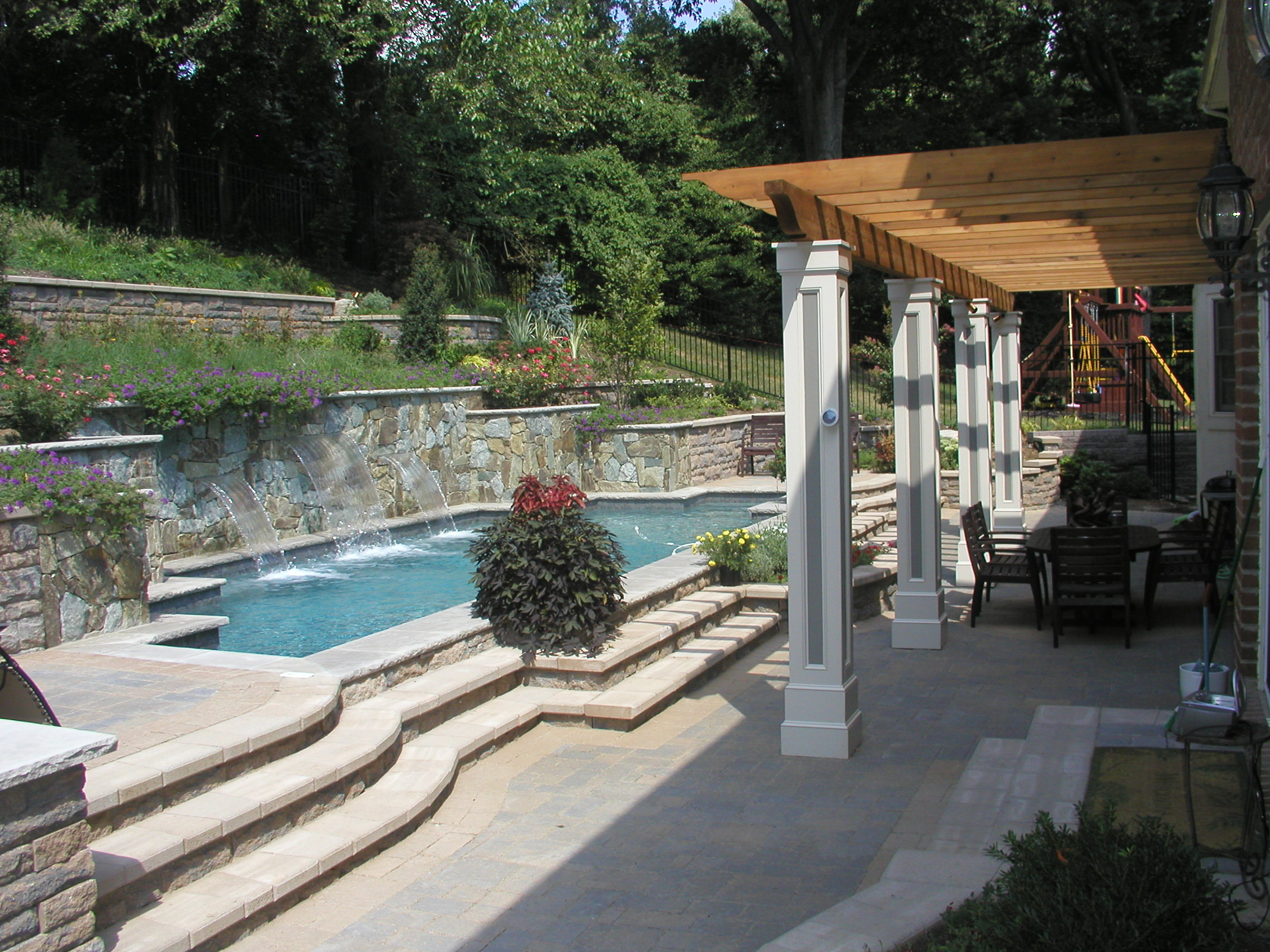 Hillside landscaping and pool in chevy chase md land for Pool design hillside