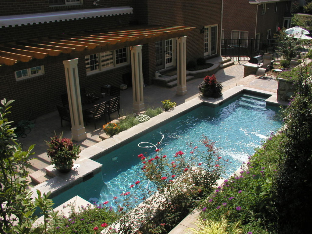 Hillside landscaping and pool in chevy chase md land for Pool design maryland