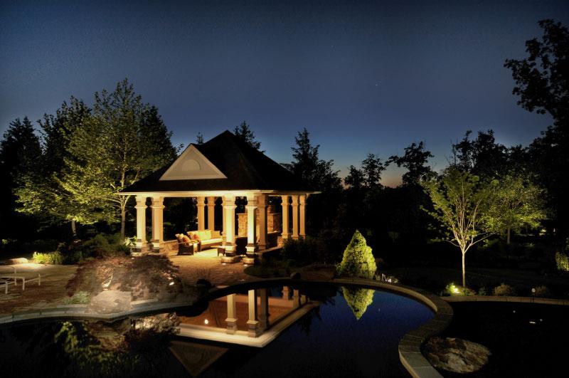 Night view Potomac MD pool pavilion