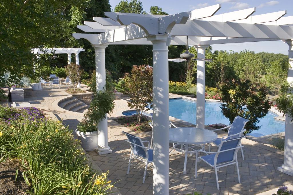 twin pergolas Leesburg pool